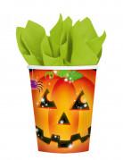 8 gobelets en carton citrouille Halloween 266 ml