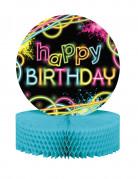 Centre de table en papier alvéolé happy birthday Glow Party 23 x 30 cm