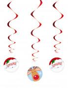 3 Suspensions spirales Père Noël et Renne 11 x 60 cm