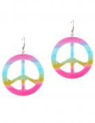 Boucles d'oreilles peace & love multicolores plastique adulte