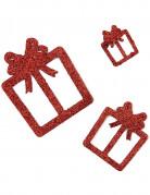 6 Décorations cadeaux rouges à paillettes 3, 5 et 7 cm