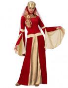 Déguisement dame médiévale rouge et or femme