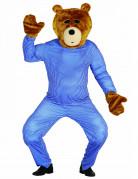 Kit tête et mains ours en peluche adulte