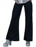 Pantalon disco noir avec sequins sur le bas femme