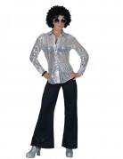 Chemise disco argent avec sequins femme
