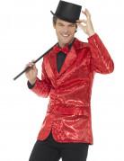 Veste disco rouge à sequins luxe homme