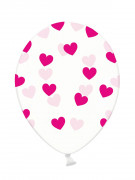 6 Ballons en latex transparents coeurs roses 30 cm