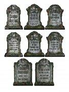 4 Décorations pierre tombale squelette 30 x 41 cm