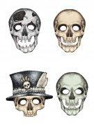 4 Masques cartons squelette Halloween