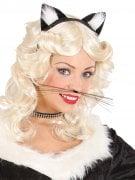 Moustache de chat noir adulte