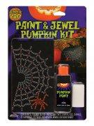 Autocollant pour citrouille araignée d'Halloween en strass argent - noir - rouge