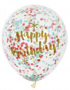 6 Ballons en latex Happy Birthday confettis multicolores 30 cm