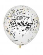 6 Ballons en latex confettis Happy Birthday argent et or 30 cm