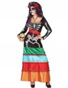 Déguisement mexicaine coloré long femme Dia de los muertos