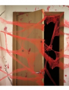Décoration toile d'araigné rouge avec araignées 20 g Halloween