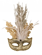 Loup brocart doré luxe femme