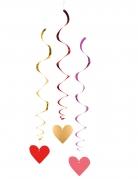 3 Décorations à suspendre spirales cœurs 85 cm
