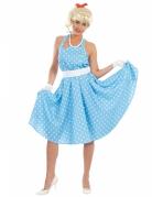 Déguisement robe bleue à pois années 50 femme