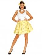 Jupe et foulard jaune à pois années 50 femme
