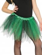 Tutu bicolore noir et vert à paillettes fille