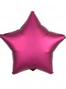 Ballon aluminium étoile satin fuschia 43 cm