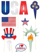Kit photobooth thème USA 11 pièces