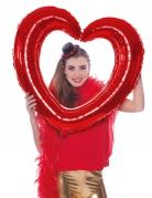 Ballon cadre en forme de cœur rouge 80 cm