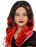 Perruque longue noire et rouge enfant