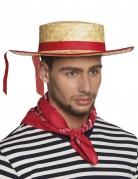 Chapeau canotier avec bande rouge adulte