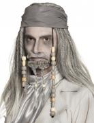 Perruque et bandana pirate grise adulte