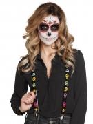 Bretelles noires avec squelettes mexicains adulte Dia de los muertos