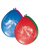 6 Ballons en latex Dinosaures multicolores 30 cm