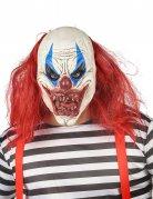 Masque latex clown rouge et blanc adulte