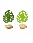 1 Feuille tropicale en métal sur socle en bois verte 15 cm