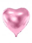 Ballon aluminium cœur rose pâle métallisé 45 cm