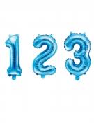 Ballon en aluminium chiffre bleu 33 cm