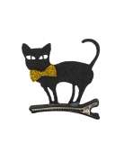 Barrette chat noir en feutrine
