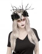 Couronne florale zombie Raven femme