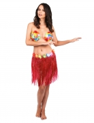 Jupe hawaïenne courte rouge adulte