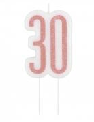 Bougie d'anniversaire sur pic 30 ans rose pailleté 7 cm