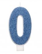 Bougie d'anniversaire chiffre bleue pailletée 7 cm