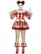 Déguisement clown terrifiante rouge et blanc femme
