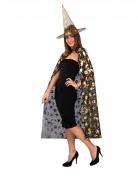 Set sorcière chapeau et cape noir et doré femme