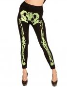 Legging squelette vert fluo femme