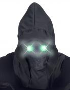 Masque intégral à capuche visage invisible et yeux lumineux vert adulte