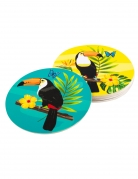 6 Dessous de verres en carton toucan 10 cm