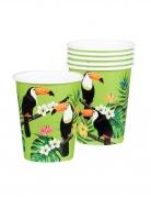 6 Gobelets en carton toucan verts 25 cl