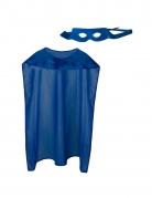 Kit cape et masque de super héros bleu adulte