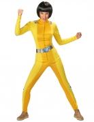 Déguisement espionne de choc jaune femme