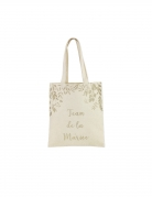 Tote bag en lin team de la mariée paillettes champagne 35,5 x 31 cm